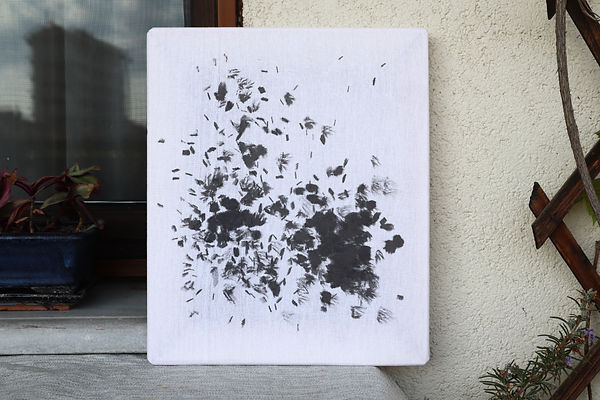 3'36'' Other echoes 30x25cm, ink on fabr