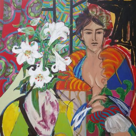 Kimono and White Lilies