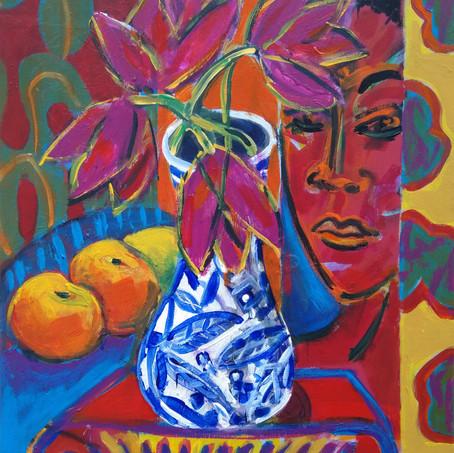Blue Vase with Purple Tulips