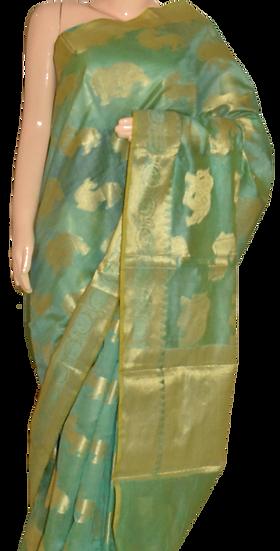 Banarasi Tussar Silk Saree in Sea Green Color