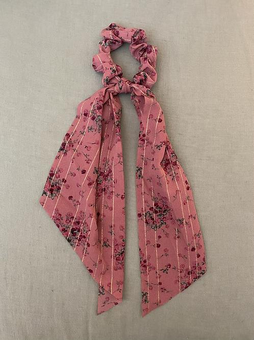 Lenço/elástico para cabelo flores rosa