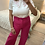 Thumbnail: T-shirt branca com gola florida rosa