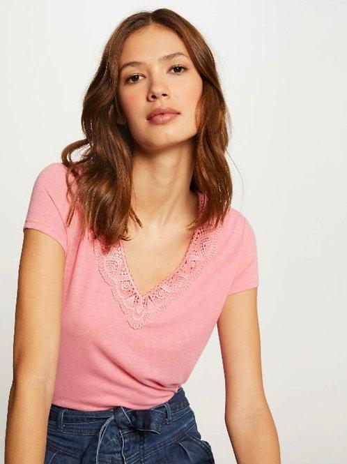 T-shirt decote V com renda rosa Morgan