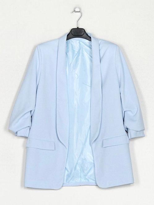 Blazer manga efeito manga arregaçada azul