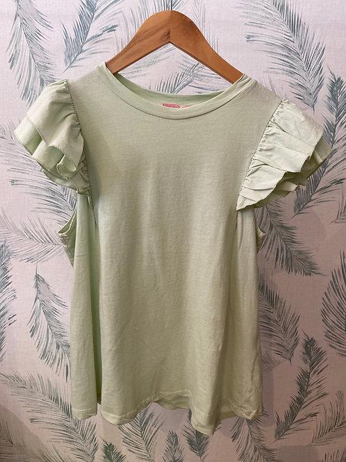 T-shirt  folho manga verde