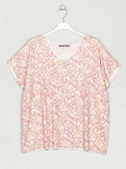 Camisola de malha fininha estampa rosa