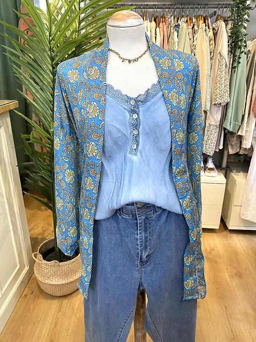 Kimono seda azul/verde