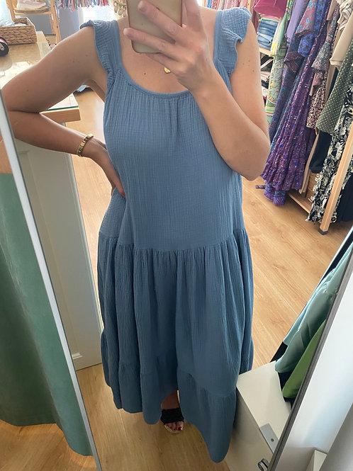 Vestido comprido folho ombro azul