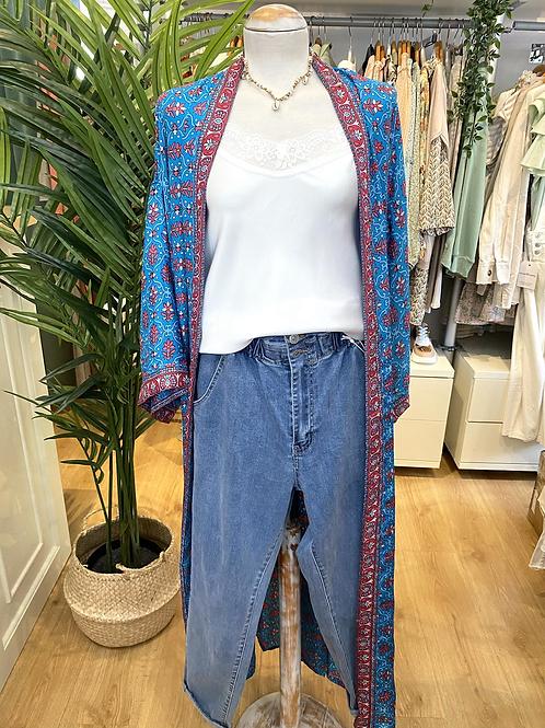 Kimono comprido seda azul/fúcsia