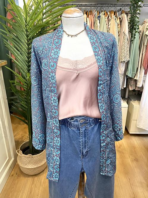 Kimono seda turquesa/lavanda