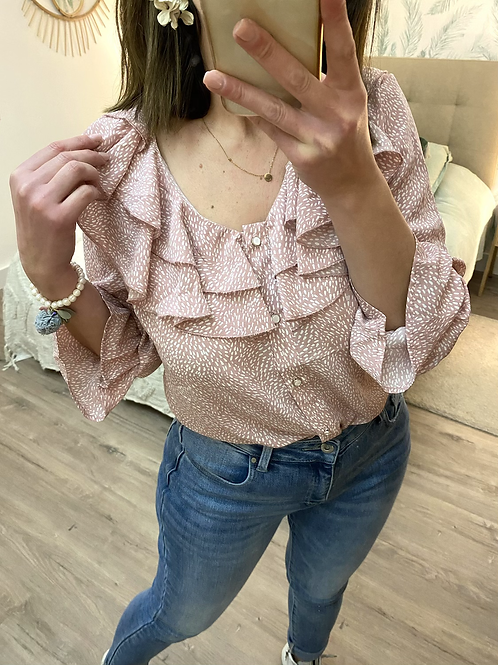 Blusa estampada folhos rosa
