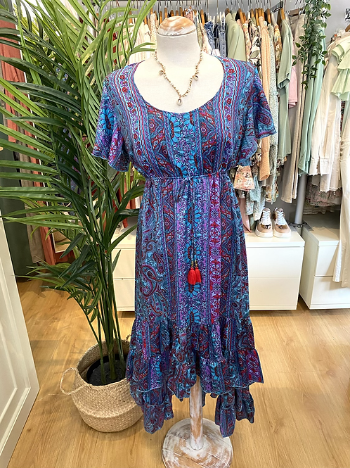 Vestido seda assimétrico azul/roxo