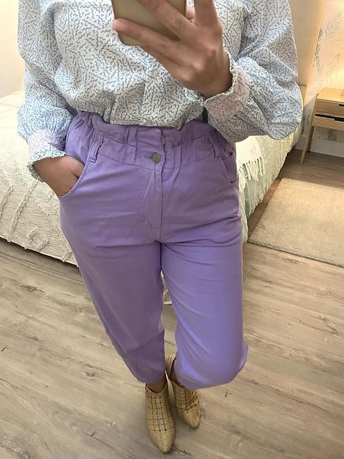 Calça paper bag lilás