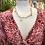 Thumbnail: Blusa bolero seda rosa/bordeaux