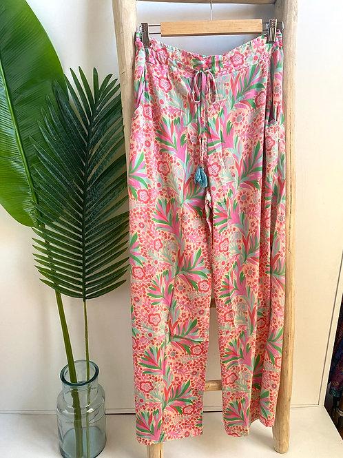 Calças estampadas rosa
