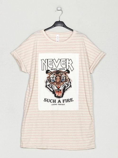 Vestido tigre riscas rosa
