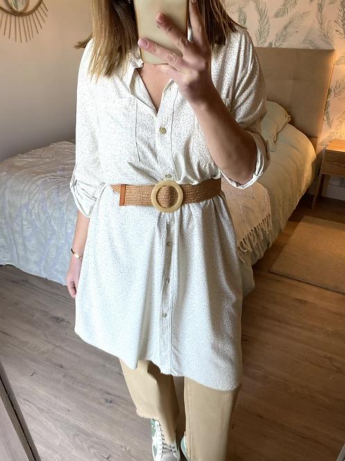 Camisa/túnica florzinhas beje