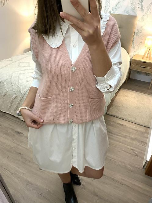 Colete de malha rosa com botões strass