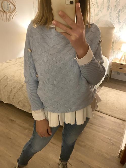Camisola de malha entrançada azul
