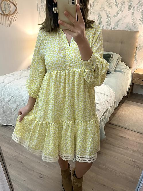 Vestido estampado amarelo