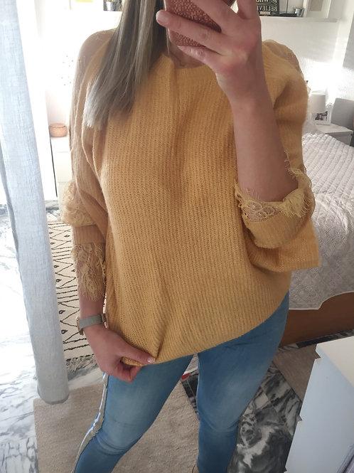 Camisola malha mangas c/renda amarelo