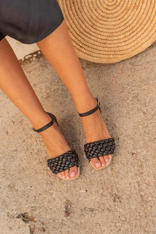 Sandália favos pele preto Macarena
