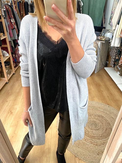 Casaco de malha com bolsos cinza