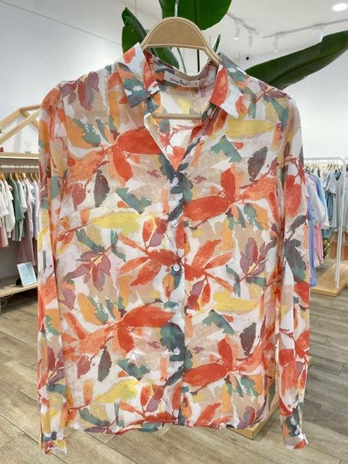Camisa estampada folhas laranja