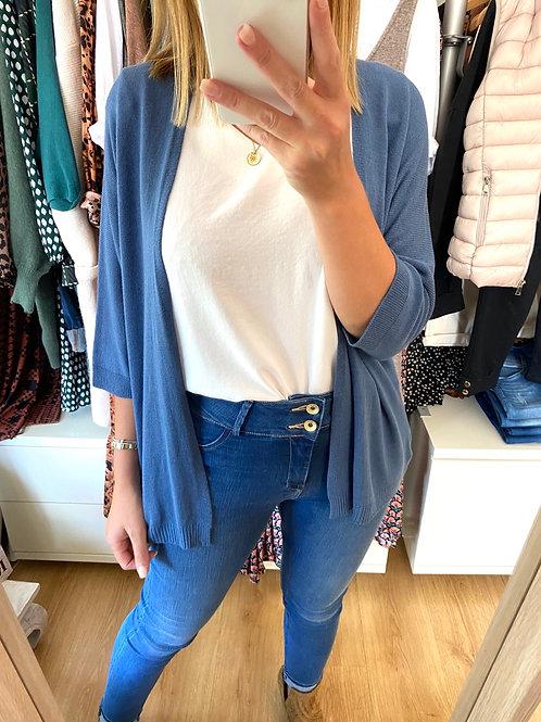 Kimono de malha lisa azul ganga