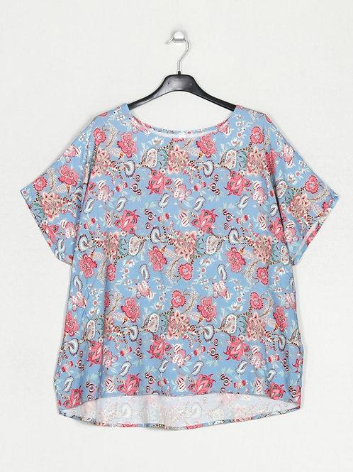 Blusa oversize estampa azul