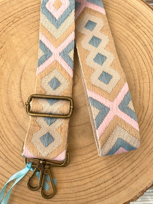 Alça para mala regulável azul/rosa