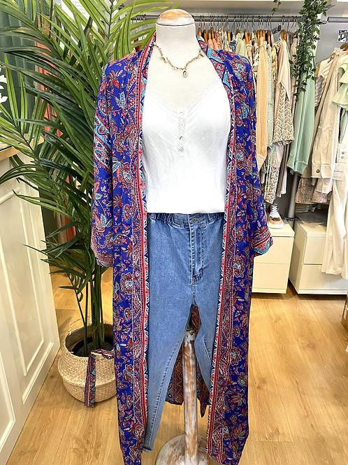 Kimono comprido seda azulão