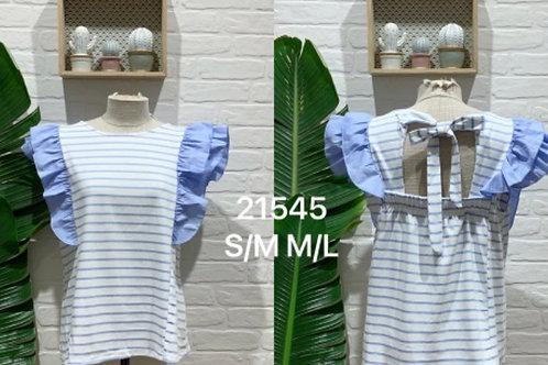 T-shirt riscas com folho azul