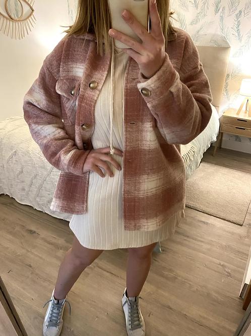 Camisa/casaco xadrez rosa velho