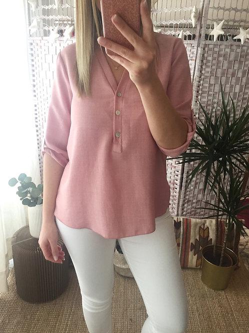 Blusa lisa decote V rosa