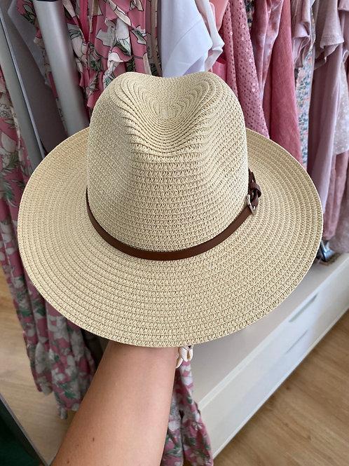 Chapéu natural fivela castanha