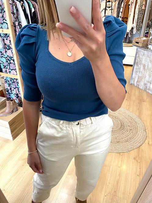 Camisola de malha manga balão azul