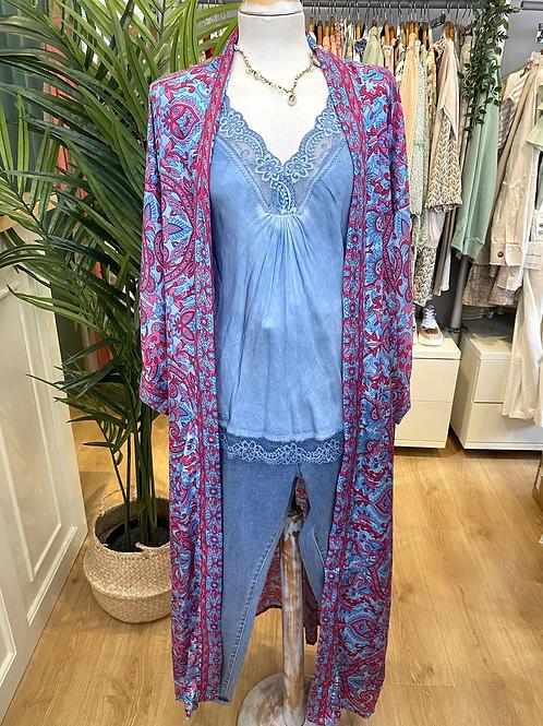 Kimono comprido seda rosa/azul