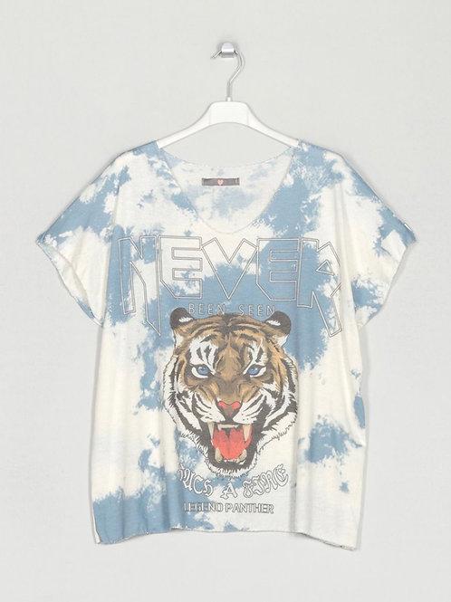 Camisola de malha fininha tigre azul