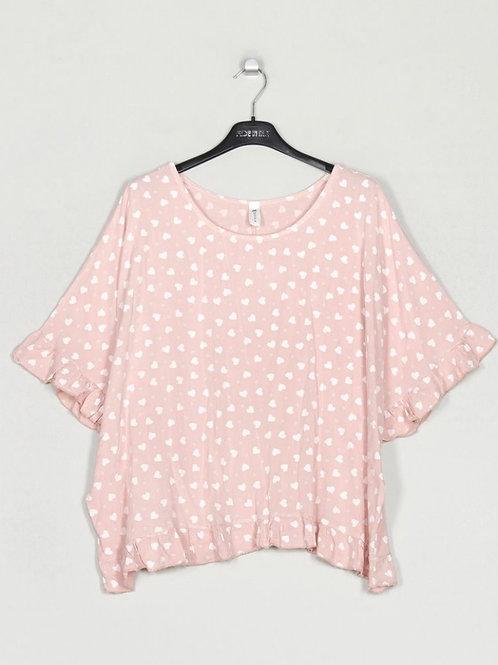 Blusa oversize corações rosa