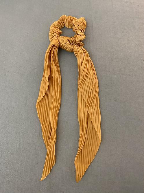 Lenço/elástico para cabelo plissado amarelo