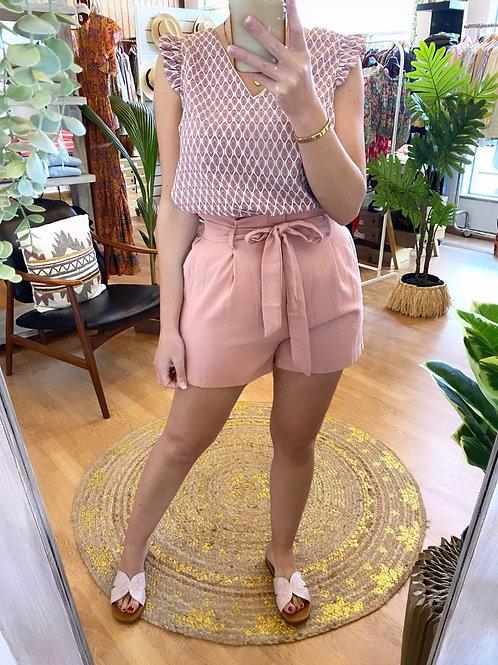 Calções cintura subida rosa