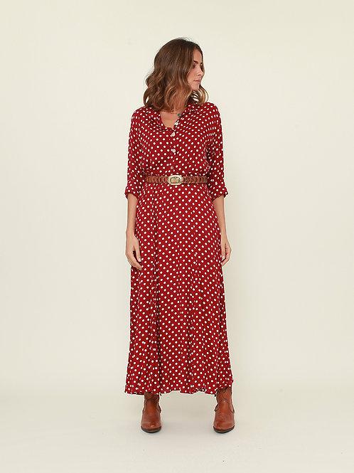 Vestido/camisa comprido bolas vermelho Vintage Bazaar