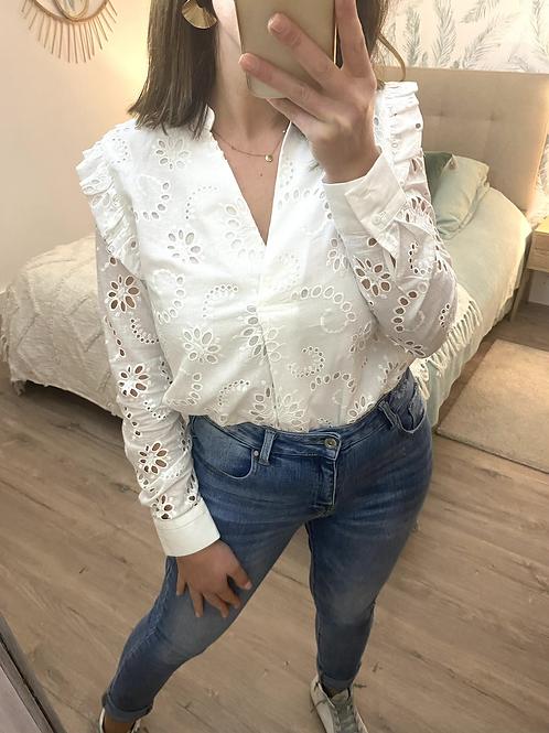 Camisa branca bordado inglês