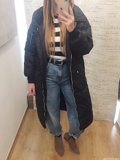 Blusão comprido oversize preto