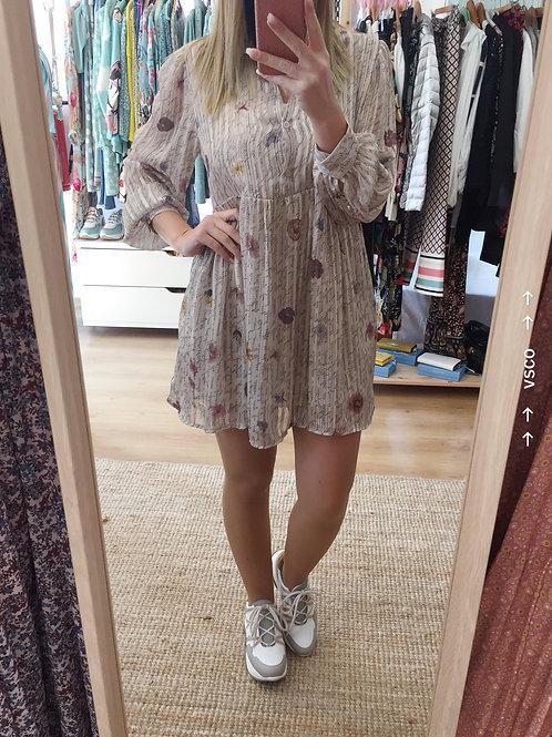 Vestido/túnica estampa letras/flores beje