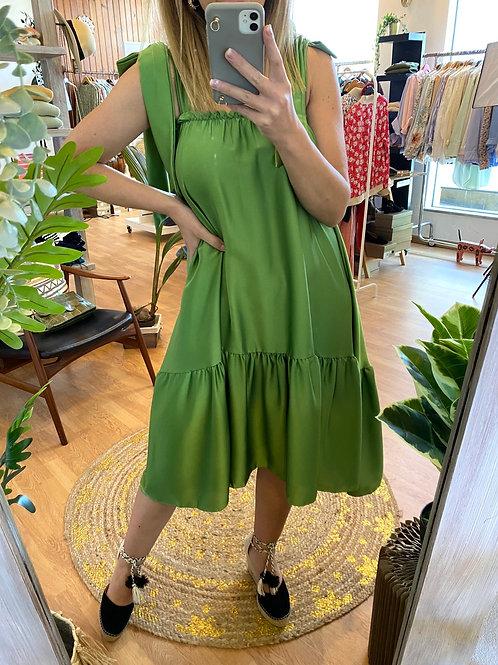 Vestido midi/saia acetinado verde