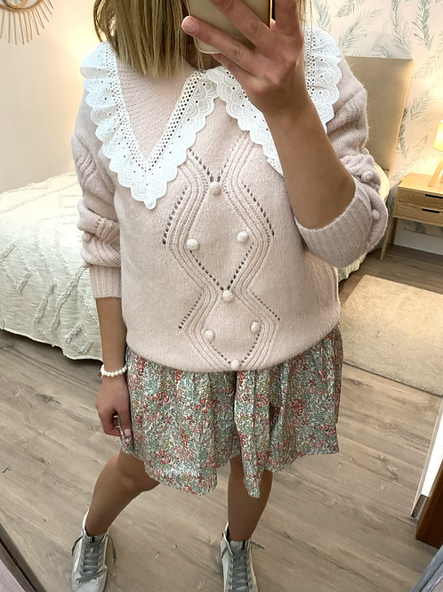 Camisola de malha berloques e gola com renda rosa