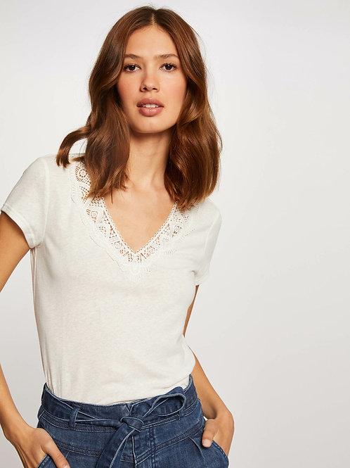 T-shirt decote V com renda cru Morgan