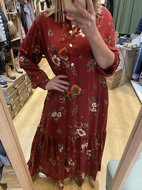 Vestido floral vermelho Vintage Bazaar